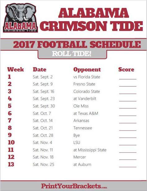 Alabama Crimson Tide 2017 Football Schedule Printable