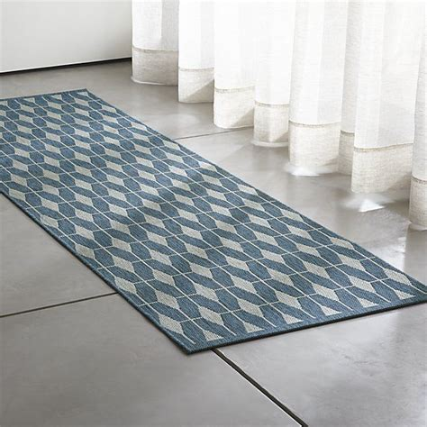 Aldo Blue Indoor Outdoor 2 5 x8 Rug Runner Crate and Barrel