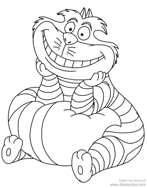 Alice In Wonderland Coloring Cheshire Cat Coloring Home