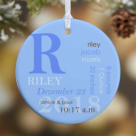 All About Baby Photo Personalized Birth Ornament 2 Sided
