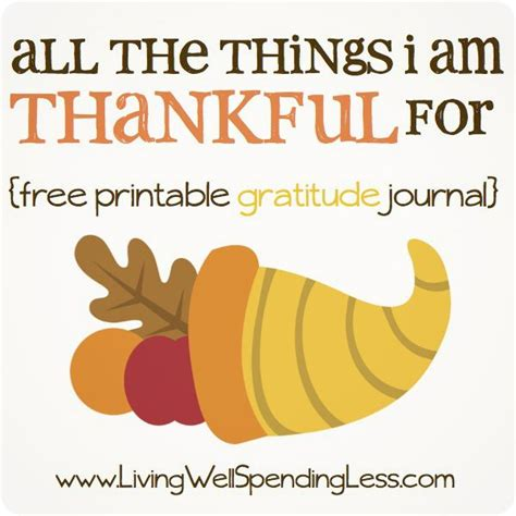 All the Things I m Thankful For Free Printable Gratitude