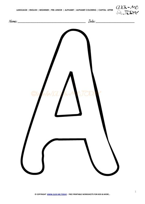 Alphabet Capital Letters Coloring Page A Free English