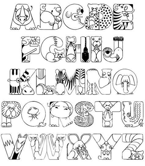 Alphabet coloring pages sheets and pictures 01