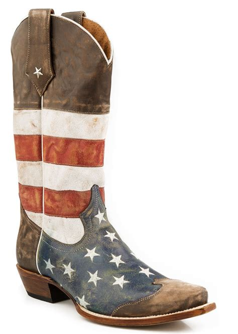 Amazon Roper Men s American Flag Western Boot Shoes