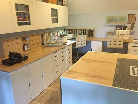 An IKEA craft room with kitchen cabinets