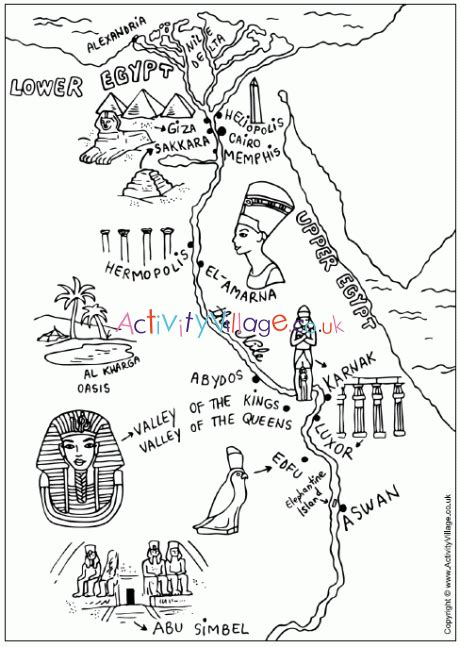 Ancient Egypt Map Colouring Page Activity Village