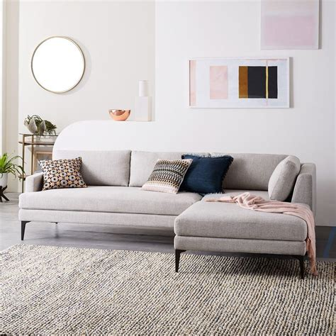 Andes 3 Piece Chaise Sectional Stone Twill west elm AU