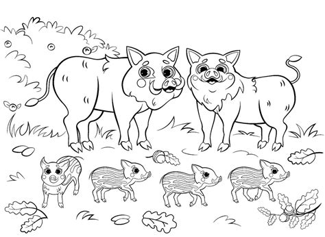 Animal Babies and Families Coloring Pages 1