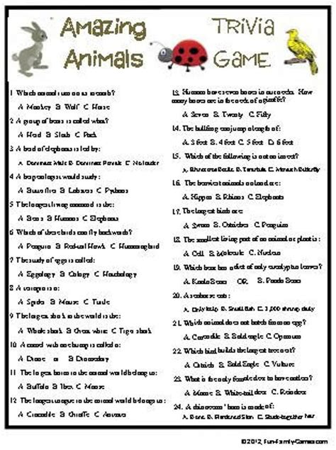 Animals Trivia and Quizzes Fun Trivia Quizzes