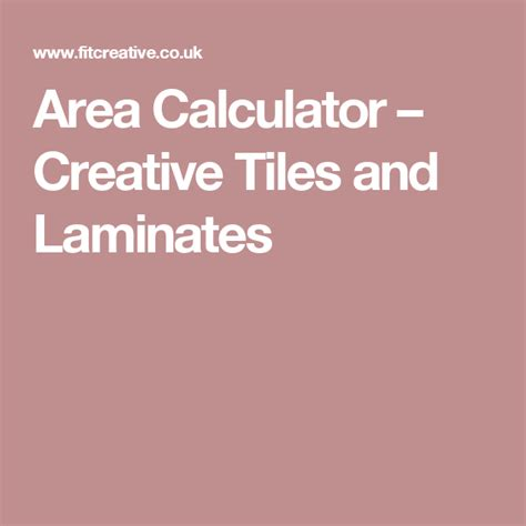 Area Calculator Creative Tiles and Laminates