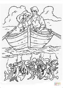 Ariel And Eric Are Sailing Together coloring page Free