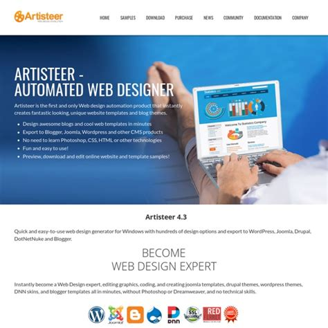 Artisteer web design software and joomla template maker
