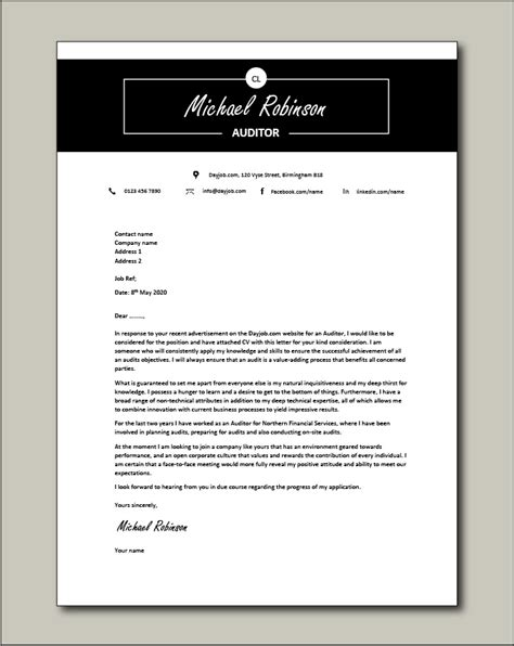 cover letter sample for audit manager templates auditing manager cover letter