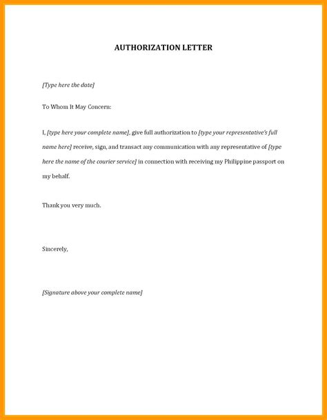 authorization letter sample buzzle