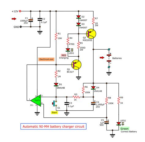 Automatic NiMH Battery Charger Circuit Circuit Diagram
