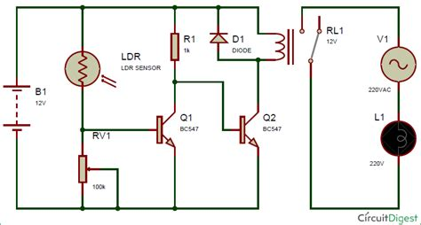 Automatic Street Light Controller Circuit Using Relays and LDR