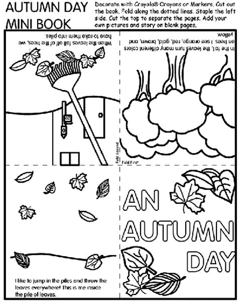 Autumn Day Mini Book Coloring Page crayola
