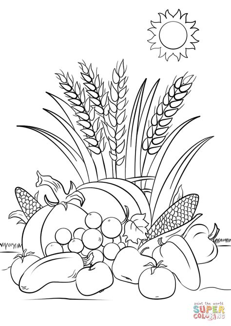 Autumn Harvest free printable Autumn coloring pages for