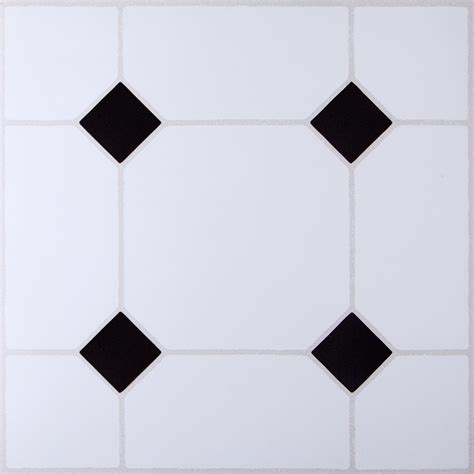 B Q Black White Tile Effect Self Adhesive Vinyl Tile 1