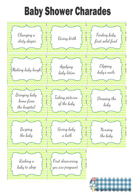 Baby Shower Charades Free Printable Charades