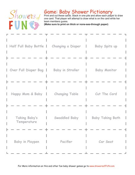 Baby Shower Games Printable Baby Pictionary Word Lists