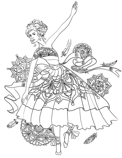 Ballerina and Ballet Dancer Online Coloring Pages Page 1