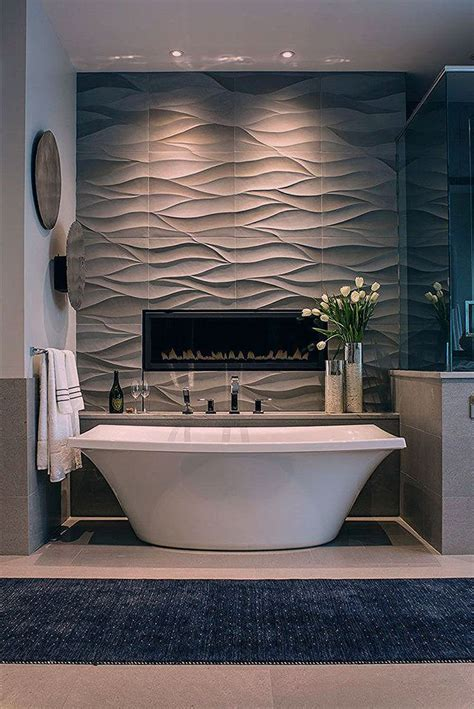 Bathroom Tile Idea Install 3D Tiles To Add Texture To