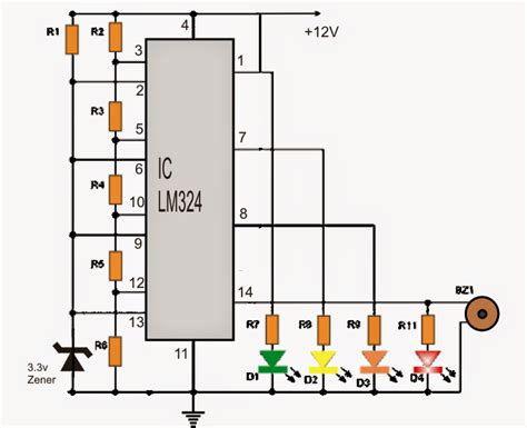 Battery Charge controller Circuit using LM324 Comparator IC