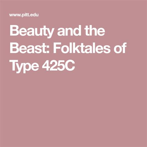 Beauty and the Beast Folktales of Type 425C