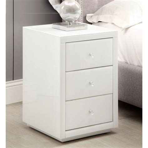 Bedside Tables White Mirrored Modern