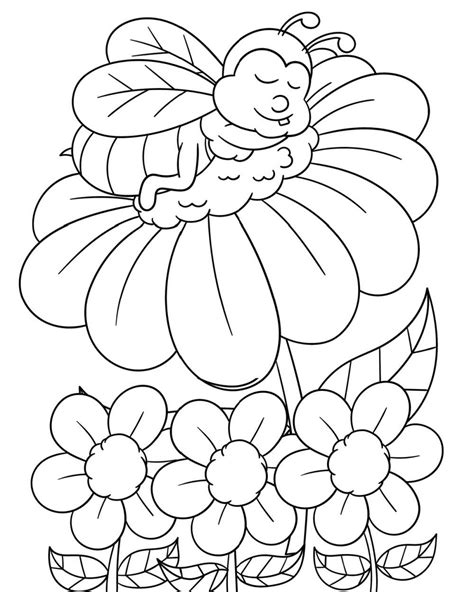 Bee And Flower Coloring Pages GetColoringPages