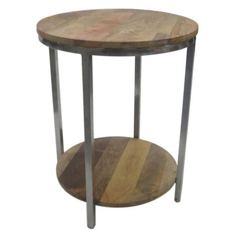 Berwyn End Table Metal and Wood Rustic Brown Target