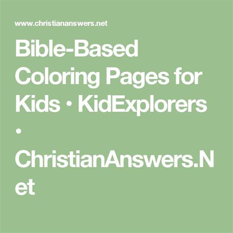 Bible Based Coloring Pages for Kids KidExplorers
