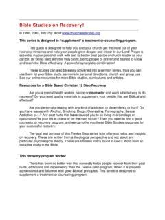 Bible Studies on Recovery Net Ministry