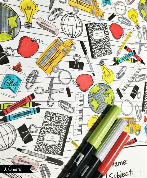 Binder Cover Coloring Pages U Create
