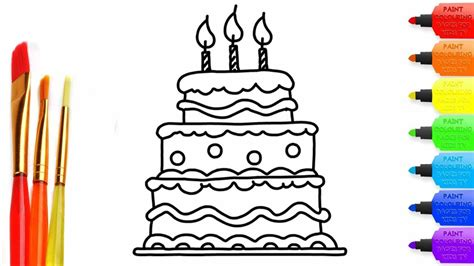 Birthday Cake Coloring Page How To Draw Cake Learn Drawing
