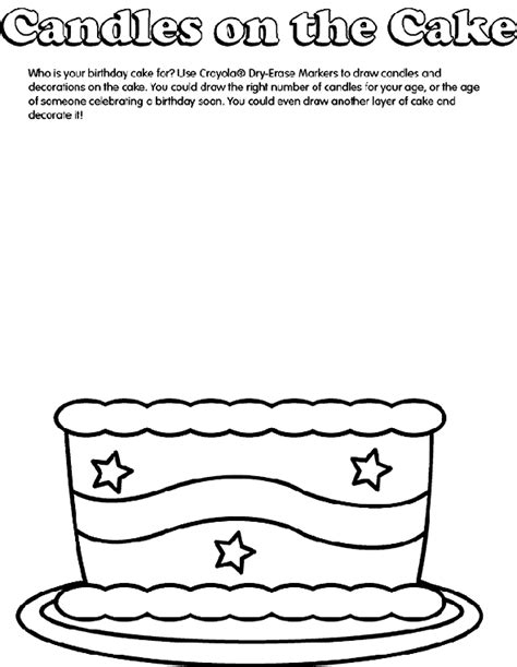 Birthday Cake Coloring Page crayola