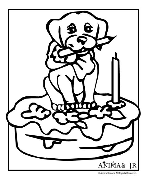 Birthday Puppy Printable Coloring Pages Animal Jr