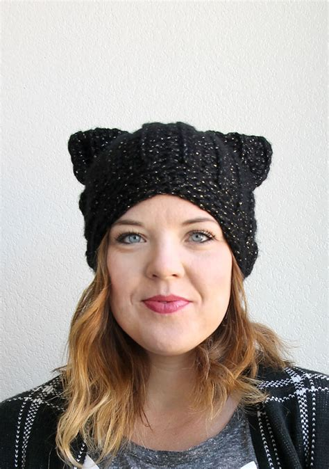 Black Cat Slouch Hat Free Crochet Cat Hat Pattern