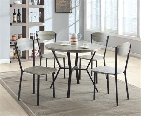 Black Gray Round Dining Table Chairs Blake 5 Piece