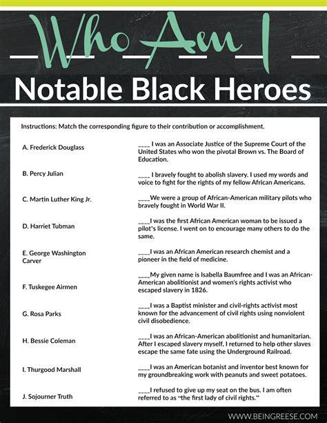 Black History Month Worksheets Free Printables