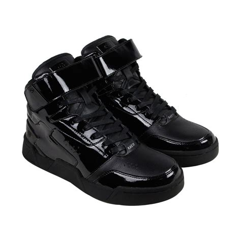 Black Patent Leather High Top Tennis Shoes Men s Casual