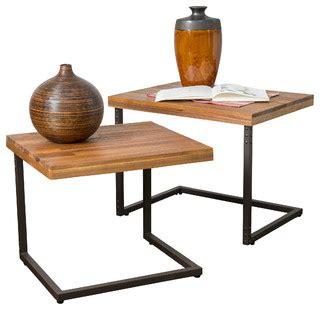 Blaine 2 Piece Wooden Nesting Table Set Industrial