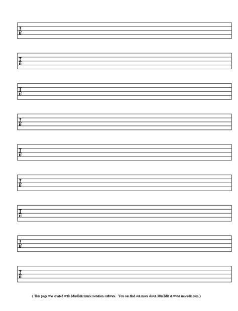 Blank Banjo Tablature Free Blank Sheet Music