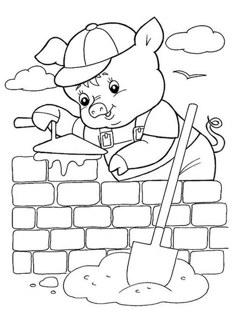 Book of three little pigs Coloring FREE COLORING PAGES