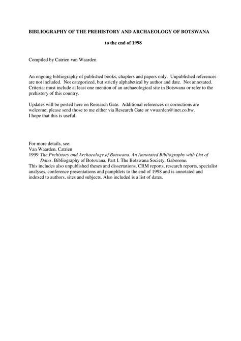 Botswana History Bibliography for Local Studies