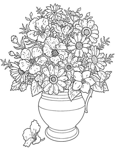 Bouquet of Flowers coloring page Free Printable Coloring