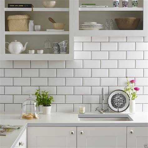 Brick Blanco White White Ceramic Kitchen Tiles Wall