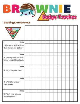 Brownie Girl Scout Troop Badge Requirement Tracker doc