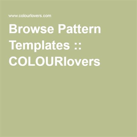 Browse Pattern Templates COLOURlovers